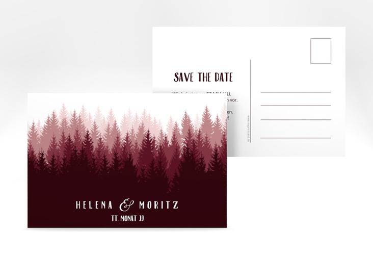 "Save the Date-Postkarte ""Forest"" A6 Postkarte rot"