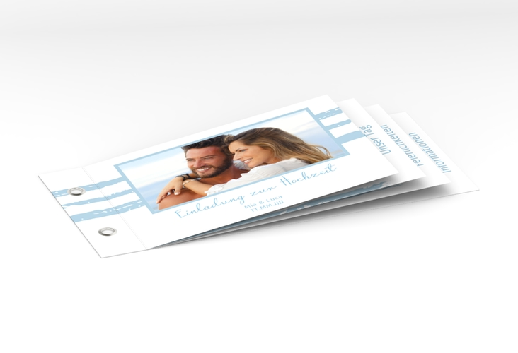 """Hochzeitseinladung """"Mare"""" Booklet blau"""