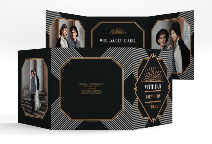 "Dankeskarte Hochzeit ""Gatsby"" Quadr. Karte doppelt"
