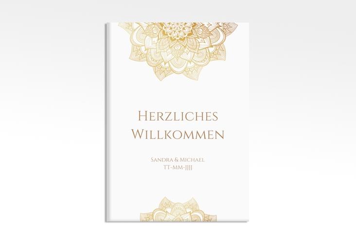 """Willkommensschild Hochzeit """"Delight"""" 50 x 70 cm Leinwand gold"""