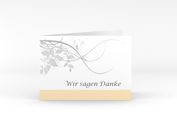 "Danksagungskarte Hochzeit ""Florenz"" A6 Klappkarte Quer beige"