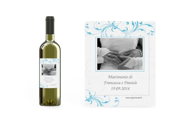 Etichette vino matrimonio collezione Palma Etikett Weinflasche 4er Set azzuro