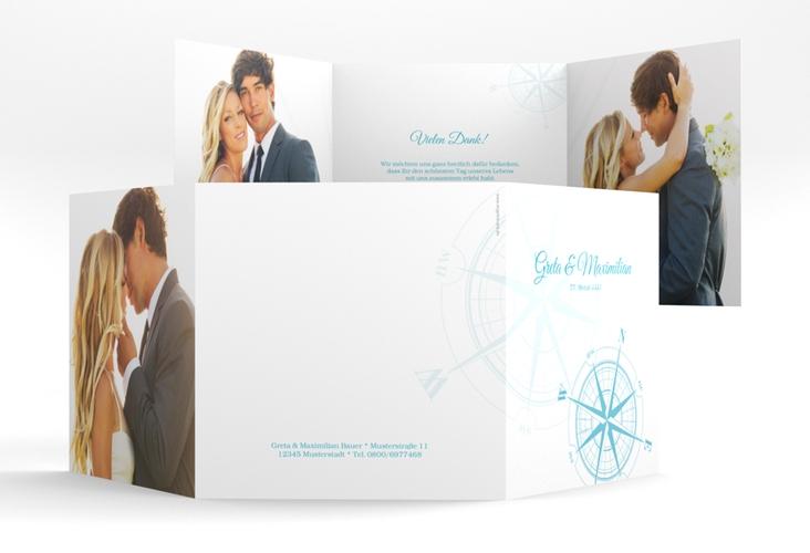 """Dankeskarte Hochzeit """"Windrose"""" Quadr. Karte doppelt tuerkis"""