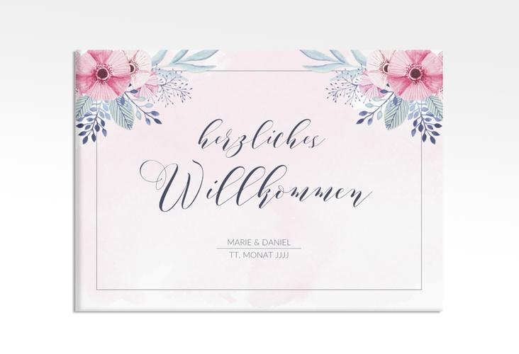 """Willkommensschild Hochzeit """"Surfinia"""" 70 x 50 cm Leinwand rosa"""