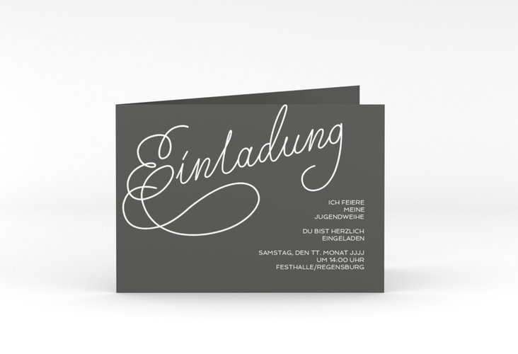 "Einladungskarte Jugendweihe ""Swinging"" A6 Klappkarte Quer grau"