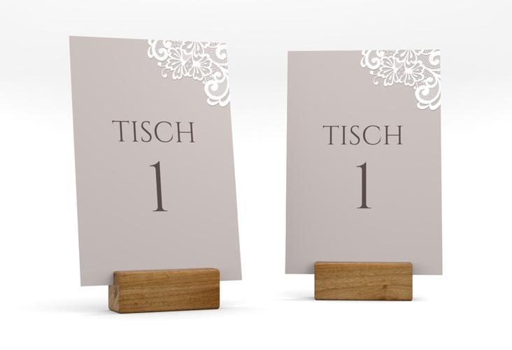 """Tischnummer Hochzeit """"Vintage"""" Tischaufsteller grau"""