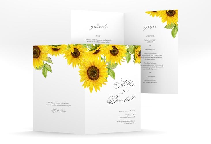 """Menükarte Hochzeit """"Sonnenblume"""" DIN A5 geklappt"""