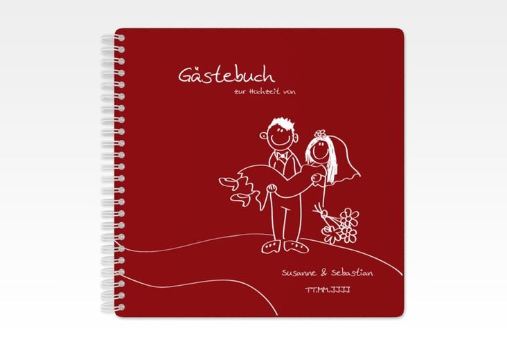 """Gästebuch Hochzeit """"Pisa"""" Ringbindung rot"""
