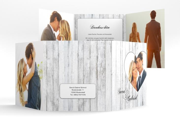 """Dankeskarte Hochzeit """"Herz"""" Quadr. Karte doppelt weiss"""