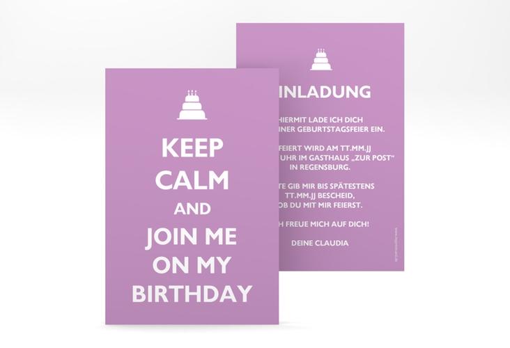 "Einladungskarte ""KeepCalm"" A6 hoch lila"