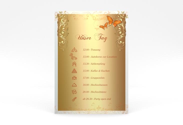 """Tagesablauf Poster Hochzeit """"Toulouse"""" 50 x 70 cm Poster orange"""