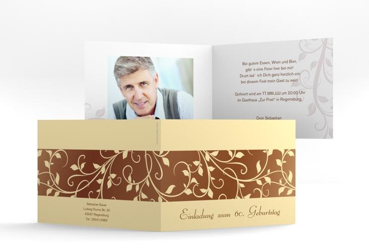 """Einladungskarte """"Hermann/Hermine"""" A6 Klappkarte Quer braun"""