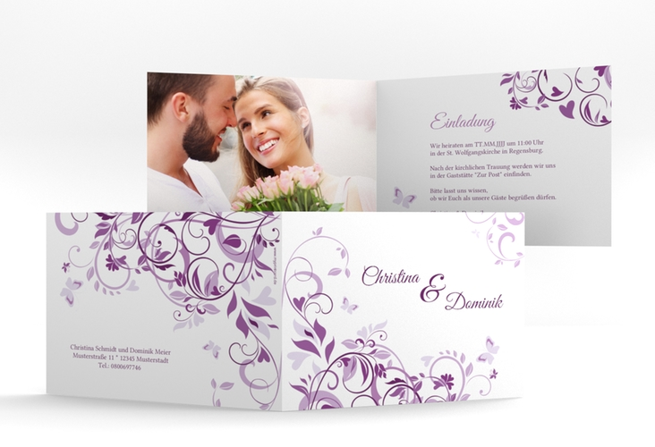 "Hochzeitseinladung ""Lilly"" A6 Klappkarte Quer lila"