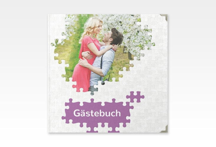 "Gästebuch Selection Hochzeit ""Puzzle"" Leinen-Hardcover lila"