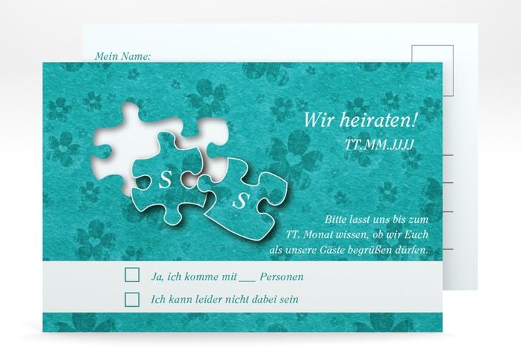 """Antwortkarte Hochzeit """"Ravensburg"""" A6 Postkarte tuerkis"""