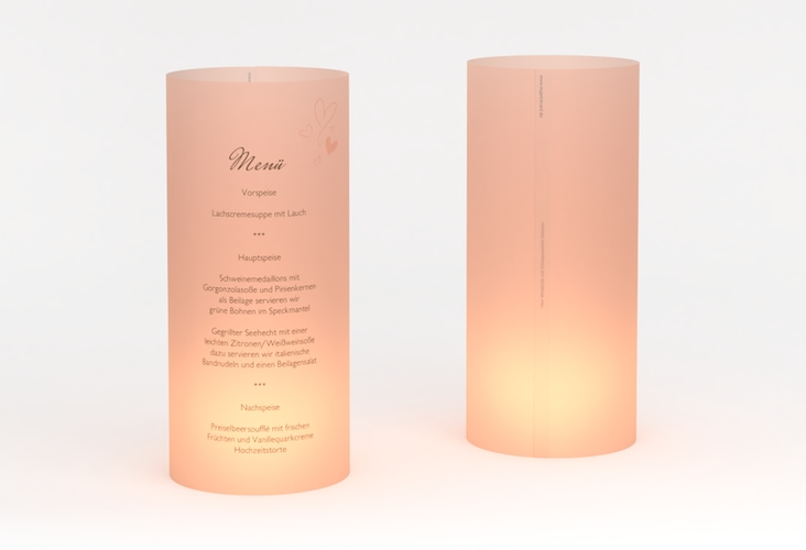 """Windlicht Menü Hochzeit """"Purity"""" Windlicht apricot"""