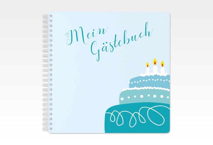 "Gästebuch Geburtstag ""Cake"" Ringbindung tuerkis"