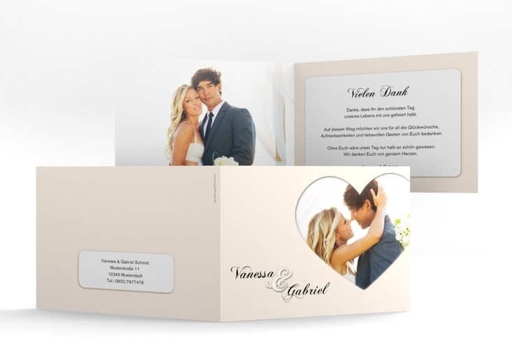 "Danksagungskarte Hochzeit ""Sweetheart"" A6 Klappkarte Quer beige"