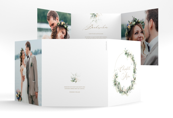 """Danksagungskarte Hochzeit """"Greenheart"""" Quadr. Karte doppelt"""