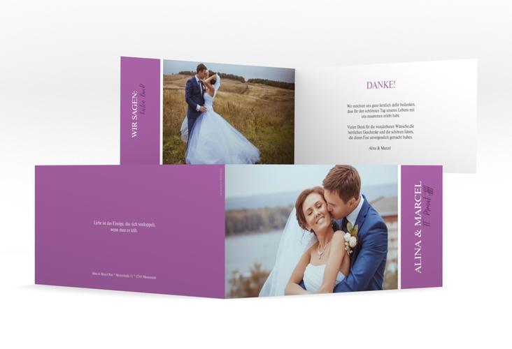 """Danksagungskarte Hochzeit """"Classic"""" DIN lang Klappkarte lila"""