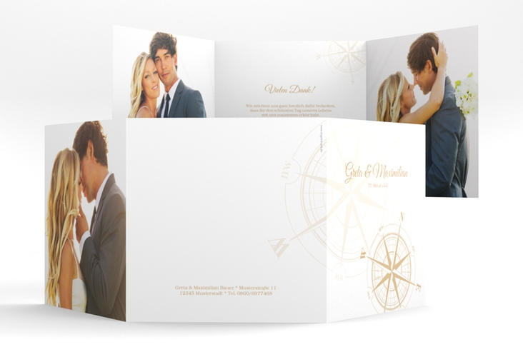 """Dankeskarte Hochzeit """"Windrose"""" Quadr. Karte doppelt beige"""