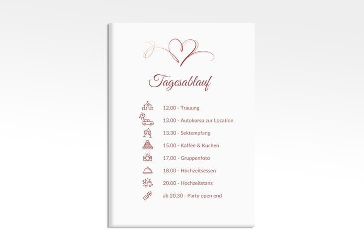 """Tagesablauf Leinwand Hochzeit """"Envie"""" 50 x 70 cm Leinwand rot"""