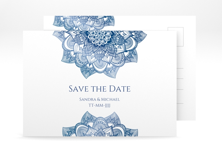 "Save the Date-Postkarte ""Delight"" A6 Postkarte blau"