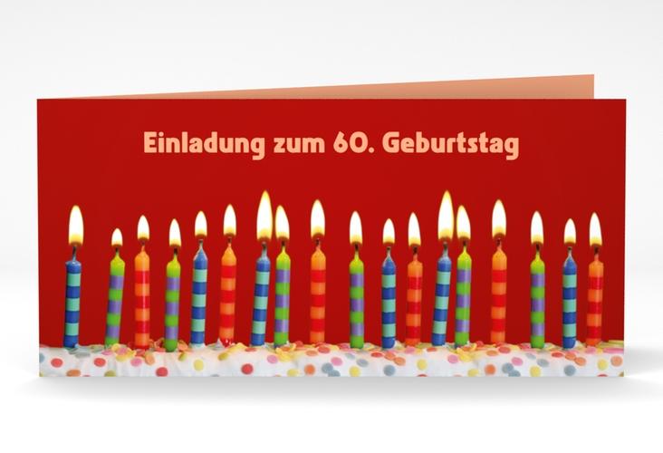 "Einladungskarte ""Candles"" DIN lang Klappkarte rot"
