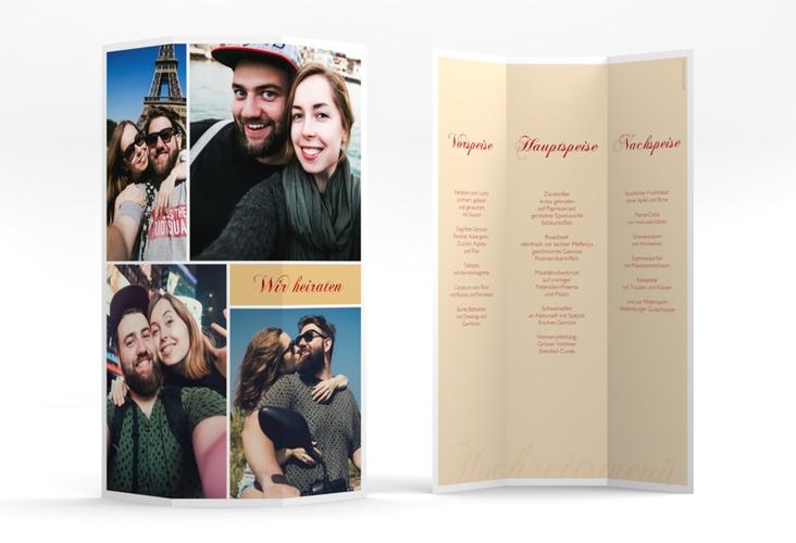 "Menükarte Hochzeit ""Collage"" DIN A4 Wickelfalz apricot"