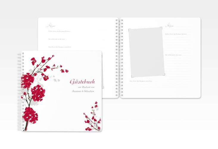 """Gästebuch Hochzeit """"Salerno"""" Ringbindung rot"""