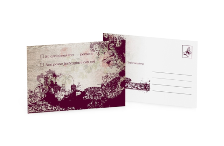 Biglietti risposta matrimonio collezione Bordeaux A6 Postkarte