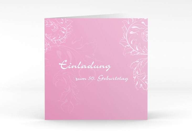 "Einladungskarte ""Peter/Petra"" Quadratische Klappkarte rosa"
