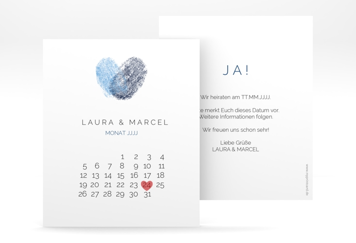 "Save the Date-Kalenderblatt ""Fingerprint"" Kalenderblatt-Karte blau"