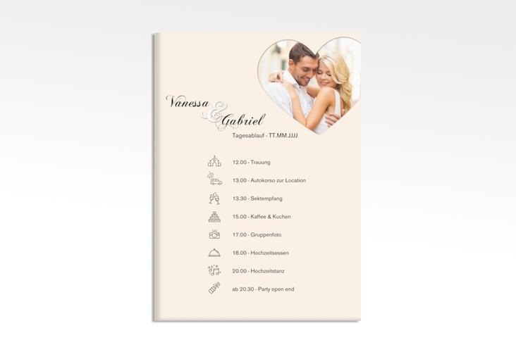 """Tagesablauf Leinwand Hochzeit """"Sweetheart"""" 50 x 70 cm Leinwand beige"""