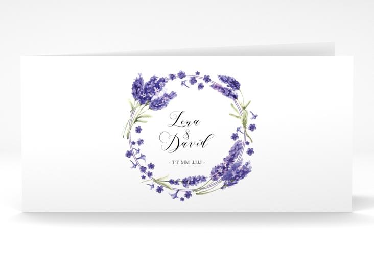 "Dankeskarte Hochzeit ""Lavendel"" DIN lang Klappkarte"