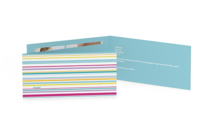 Biglietti nascita striscie colorati DIN lang Klappkarte
