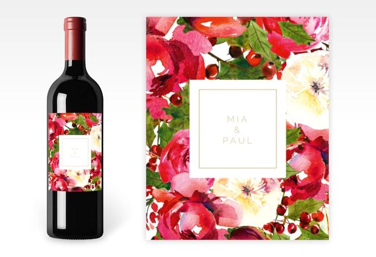 """Weinflaschenetikett Hochzeit """"Blumenpracht"""" Etikett Weinflasche 4er Set weiss"""
