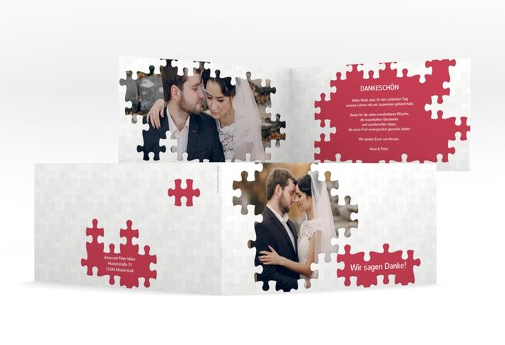 "Dankeskarte Hochzeit ""Puzzle"" DIN lang Klappkarte rot"