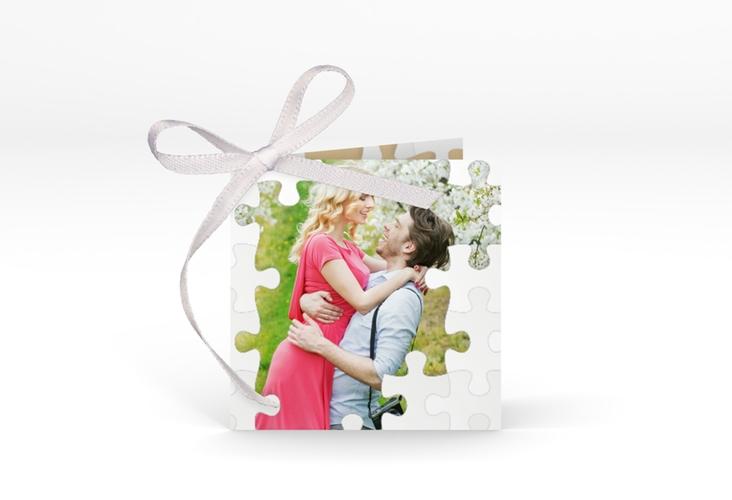 """Geschenkanhänger Hochzeit """"Puzzle"""" Geschenkanhänger 10er Set beige"""
