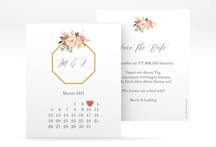 "Save the Date-Kalenderblatt ""Prachtvoll"" Kalenderblatt-Karte weiss"