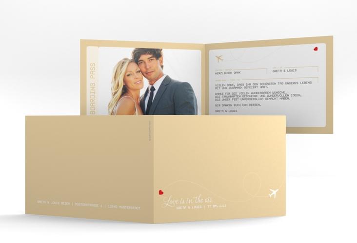 "Dankeskarte Hochzeit ""Weddingpass"" A6 Klappkarte Quer beige"