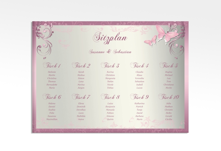 """Sitzplan Leinwand Hochzeit """"Toulouse"""" 70 x 50 cm Leinwand rosa"""