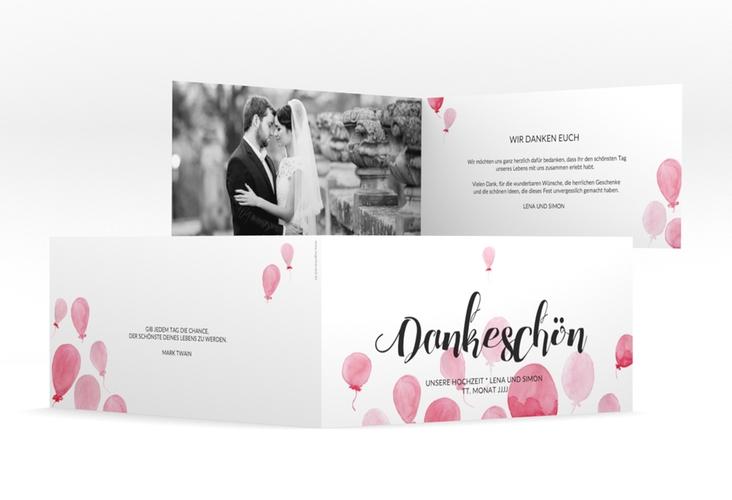 "Danksagungskarte Hochzeit ""Luftkuss"" DIN lang Klappkarte"