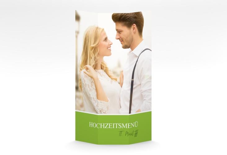 """Menükarte Hochzeit """"Balance"""" DIN A4 Wickelfalz gruen"""