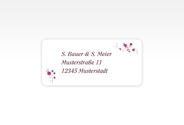 """Absenderetikett Hochzeit """"Verona"""" 45,7 x 21,2 mm pink"""