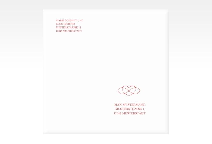 """Kuvert quadratisch """"Infinity"""" Quadratisch rot"""