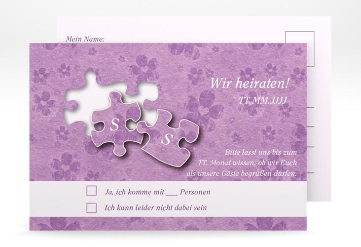 """Antwortkarte Hochzeit """"Ravensburg"""" A6 Postkarte flieder"""