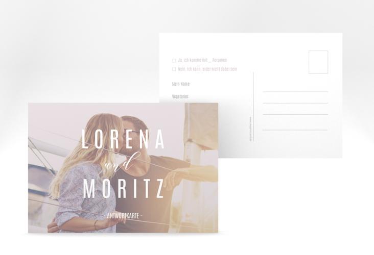 "Antwortkarte Hochzeit ""Memory"" A6 Postkarte grau"