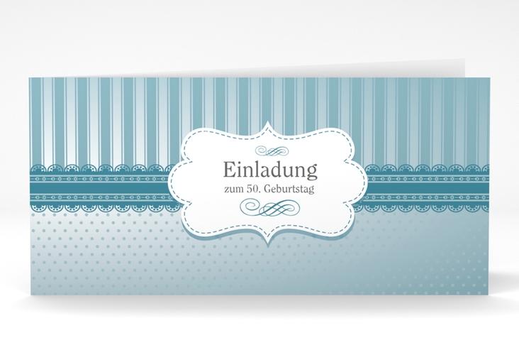 """Einladungskarte """"Heinrich/Henriette"""" DIN lang Klappkarte blau"""