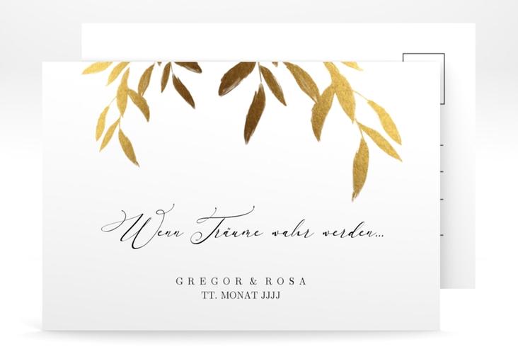 """Antwortkarte Hochzeit """"Demure"""" A6 Postkarte weiss"""